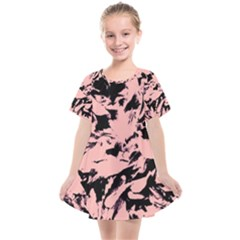 Old Rose Black Abstract Military Camouflage Kids  Smock Dress