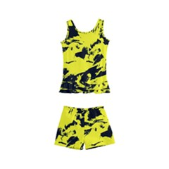 Yellow Black Abstract Military Camouflage Kid s Boyleg Swimsuit