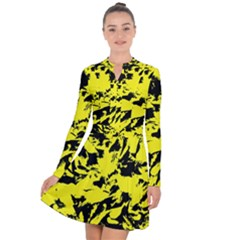 Yellow Black Abstract Military Camouflage Long Sleeve Panel Dress