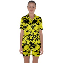 Yellow Black Abstract Military Camouflage Satin Short Sleeve Pyjamas Set