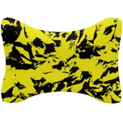Yellow Black Abstract Military Camouflage Seat Head Rest Cushion
