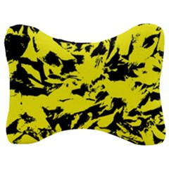 Yellow Black Abstract Military Camouflage Velour Seat Head Rest Cushion
