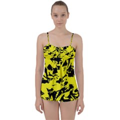 Yellow Black Abstract Military Camouflage Babydoll Tankini Set