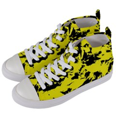Yellow Black Abstract Military Camouflage Women s Mid Top Canvas Sneakers by Costasonlineshop