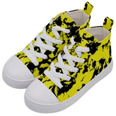 Yellow Black Abstract Military Camouflage Kid s Mid Top Canvas Sneakers by Costasonlineshop