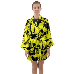 Yellow Black Abstract Military Camouflage Long Sleeve Kimono Robe