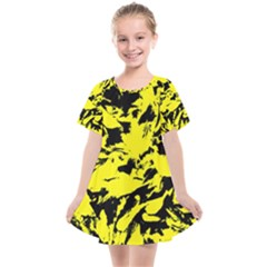 Yellow Black Abstract Military Camouflage Kids  Smock Dress