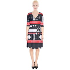 Compact Cassette Wrap Up Cocktail Dress