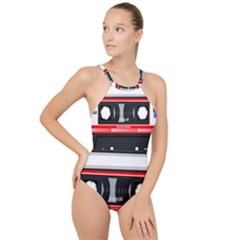 Compact Cassette High Neck One Piece Swimsuit