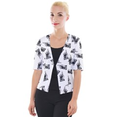 Pointing Finger Pattern Cropped Button Cardigan