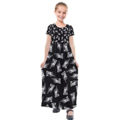 Pointing Finger Pattern Kids  Short Sleeve Maxi Dress