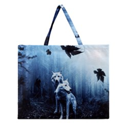 Wolfs Zipper Large Tote Bag by Valentinaart