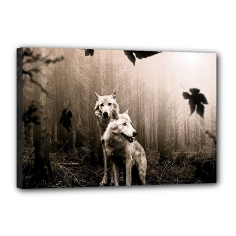 Wolfs Canvas 18  X 12  (stretched) by Valentinaart