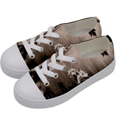Wolfs Kids  Low Top Canvas Sneakers by Valentinaart