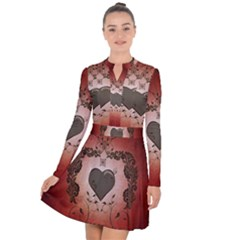 Wonderful Heart With Decorative Elements Long Sleeve Panel Dress