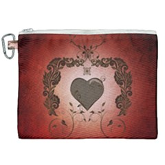 Wonderful Heart With Decorative Elements Canvas Cosmetic Bag (xxl) by FantasyWorld7