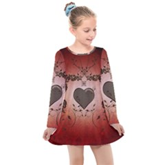 Wonderful Heart With Decorative Elements Kids  Long Sleeve Dress