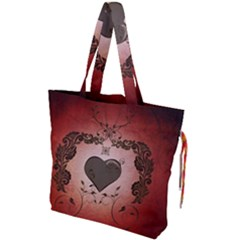 Wonderful Heart With Decorative Elements Drawstring Tote Bag by FantasyWorld7
