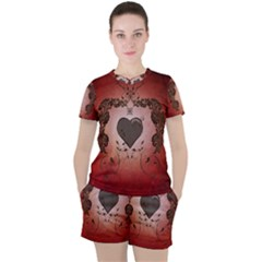 Wonderful Heart With Decorative Elements Women s Tee And Shorts Set