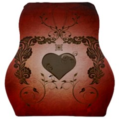 Wonderful Heart With Decorative Elements Car Seat Velour Cushion  by FantasyWorld7