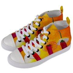 Three Red Chili Peppers Women s Mid Top Canvas Sneakers by FunnyCow