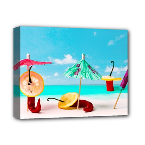 Red Chili Peppers On The Beach Deluxe Canvas 14  X 11  (stretched) by FunnyCow