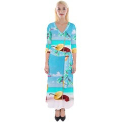 Red Chili Peppers On The Beach Quarter Sleeve Wrap Maxi Dress by FunnyCow