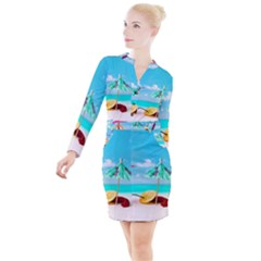 Red Chili Peppers On The Beach Button Long Sleeve Dress by FunnyCow