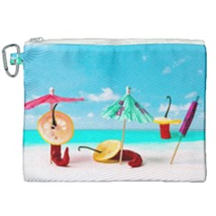 Red Chili Peppers On The Beach Canvas Cosmetic Bag (xxl) by FunnyCow