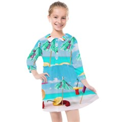 Red Chili Peppers On The Beach Kids  Quarter Sleeve Shirt Dress