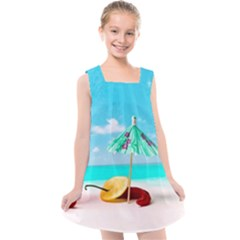Red Chili Peppers On The Beach Kids  Cross Back Dress