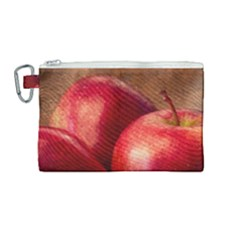 Three Red Apples Canvas Cosmetic Bag (medium)