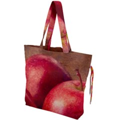 Three Red Apples Drawstring Tote Bag by FunnyCow
