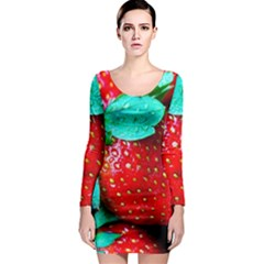 Red Strawberries Long Sleeve Bodycon Dress by FunnyCow