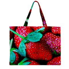 Red Strawberries Zipper Medium Tote Bag by FunnyCow