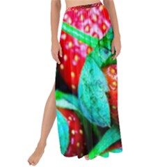 Red Strawberries Maxi Chiffon Tie Up Sarong by FunnyCow