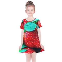 Red Strawberries Kids  Simple Cotton Dress by FunnyCow