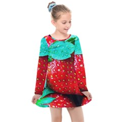 Red Strawberries Kids  Long Sleeve Dress by FunnyCow