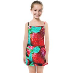 Red Strawberries Kids Summer Sun Dress by FunnyCow