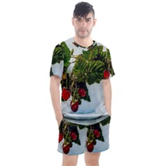 Red Raspberries In A Teacup Men s Mesh Tee And Shorts Set by FunnyCow