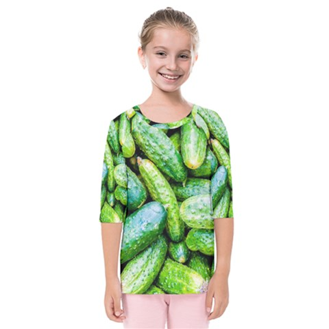 Pile Of Green Cucumbers Kids  Quarter Sleeve Raglan Tee by FunnyCow