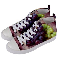 Red And Green Grapes Women s Mid Top Canvas Sneakers by FunnyCow