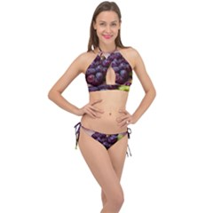 Red And Green Grapes Cross Front Halter Bikini Set by FunnyCow