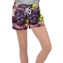 Red And Green Grapes Women s Velour Lounge Shorts