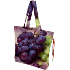 Red And Green Grapes Drawstring Tote Bag by FunnyCow