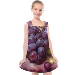 Red And Green Grapes Kids  Cross Back Dress