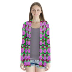 Roses And Other Flowers Love Harmony Drape Collar Cardigan by pepitasart