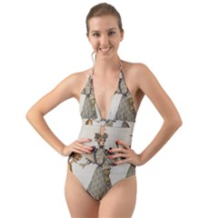 Vintage 1480642 1920 Halter Cut Out One Piece Swimsuit