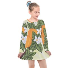 Orange Blossoms Kids  Long Sleeve Dress