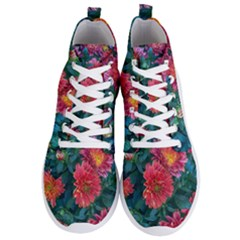 Warm Fall Mums Men s Lightweight High Top Sneakers by bloomingvinedesign